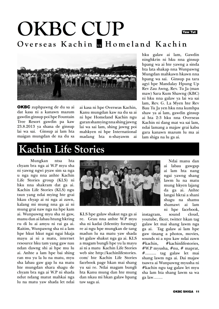#kachinlifestories featured in OKBC Volume 1 Number 1 2013